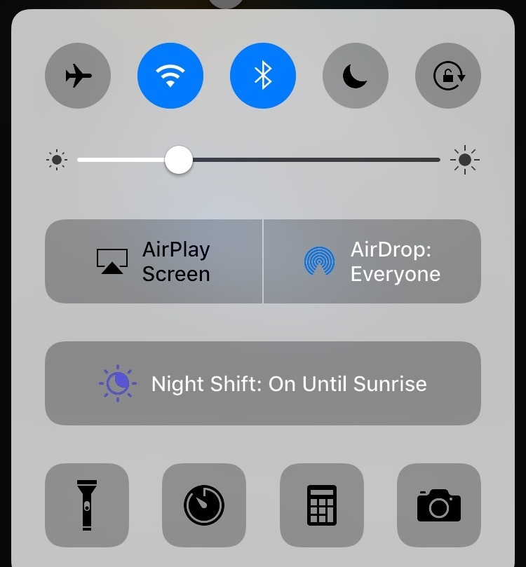 Control Center in iOS 10