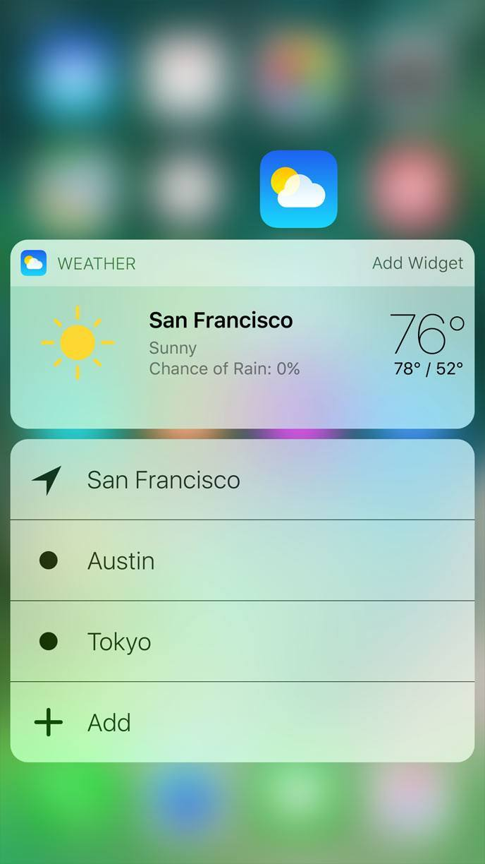 3D Touching the Weather app icon in iOS 10